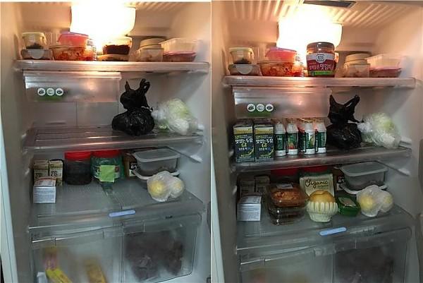 냉장고 채우기 전, 후 사진